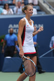 Professional tennis player Karolina Pliskova of Czech Republic celebrates victory after her round four match at US Open 2016 Royalty Free Stock Photography