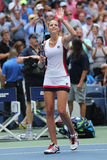 Professional tennis player Karolina Pliskova of Czech Republic celebrates victory after her round four match at US Open 2016 Stock Image