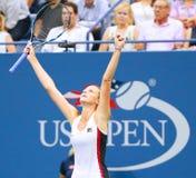 Professional tennis player Karolina Pliskova of Czech Republic celebrates victory after her semifinal match at US Open 2016 Royalty Free Stock Photo