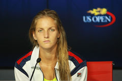 Professional tennis player Karolina Pliskova of Czech Republic during press conference after her semifinal match at US Open 2016 Stock Image