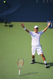 Professional tennis player Kei Nishikori celebrates victory after US Open 2014 men semifinal match Stock Images