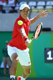 Professional tennis player Kei Nishikori of Japan in action during his men`s singles semifinal match of the Rio 2016 Olympic Games Stock Images