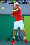 Professional tennis player Kei Nishikori of Japan in action during his men`s singles semifinal match of the Rio 2016 Olympic Games Royalty Free Stock Images