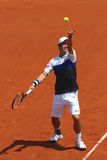 Professional tennis player Kei Nishikori of Japan during second round match at Roland Garros 2015 Stock Image