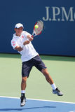 Professional tennis player Kei Nishikori from Japan during US Open 2014 match Royalty Free Stock Photography
