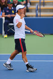 Professional tennis player Kei Nishikori from Japan during US Open 2014 match Stock Photography