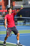 Professional tennis player Kei Nishikori practices for US Open 2014 Stock Photography