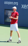 Professional tennis player Kevin Anderson practices for US Open 2014 at Billie Jean King National Tennis Center Stock Photos