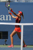 Professional tennis player Kristina Mladenovic of France in action during her US Open 2015 match. NEW YORK - SEPTEMBER 8, 2015: Professional tennis player Stock Photo