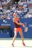 Professional tennis player Kristina Mladenovic of France in action during her US Open 2015 match Royalty Free Stock Images