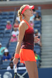 Professional tennis player Kristina Mladenovic of France in action during her US Open 2015 match Stock Image