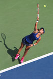 Professional tennis player Lauren Davis from USA during US Open 2014 match. NEW YORK - AUGUST 26, 2014: Professional tennis player Lauren Davis from USA during Royalty Free Stock Image