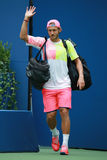 Professional tennis player Lucas Pouille of France enters Arthur Ashe stadium before his US Open 2016 quarterfinal match Stock Photos