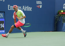 Professional tennis player Lukas Poulle of France using Tweener during round four match at US Open 2016 Royalty Free Stock Image
