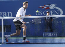 Professional tennis player Marcel Granollers  during  fourth round match at US Open 2013 against Novak Djokovic Stock Image