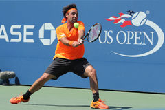 Professional tennis player Marcos Baghdatis of Cyprus in action during US Open 2016 round four match. NEW YORK - SEPTEMBER 4, 2016: Professional tennis player Stock Photo