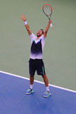 Professional tennis player Marin Cilic from Croatia celebrates victory after US Open 2014 semifinal match against Roger Federer Stock Photography