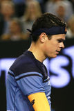 Professional tennis player Milos Raonic of Canada in action during his Australian Open 2016 semifinal match Royalty Free Stock Photos