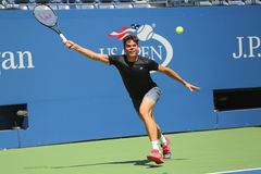 Professional tennis player Milos Raonic of Canada practices for US Open 2015 Royalty Free Stock Images