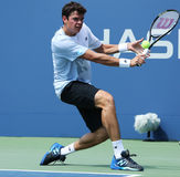 Professional tennis player  Milos Raonic during first round singles match at US Open 2013 Stock Photos