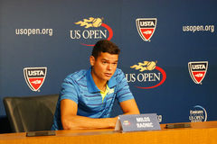 Professional tennis player Milos Raonic during press conference at Billie Jean King National Tennis Center Stock Images