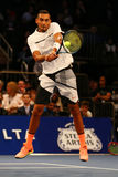 Professional tennis player Nick Kyrgios of Australia in action during  BNP Paribas Showdown 10th Anniversary tennis event Royalty Free Stock Images