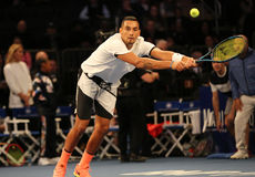Professional tennis player Nick Kyrgios of Australia in action during  BNP Paribas Showdown 10th Anniversary tennis event Royalty Free Stock Image