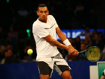 Professional tennis player Nick Kyrgios of Australia in action during  BNP Paribas Showdown 10th Anniversary tennis event Stock Photography