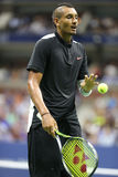 Professional tennis player Nick Kyrgios of Australia in action during his first round match at US Open 2015 Royalty Free Stock Photography