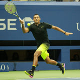 Professional tennis player Nick Kyrgios of Australia in action during his round 3 match at US Open 2016 royalty free stock images