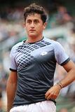 Professional tennis player Nicolas Almagro of Spain in action during his second round match at Roland Garros Royalty Free Stock Photos