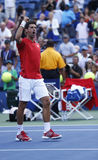 Professional tennis player Novak Djokovic celebrating victory after fourth round match at US Open 2013 Stock Images