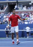 Professional tennis player Novak Djokovic during  fourth round match at US Open 2013 Stock Photos