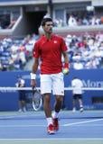 Professional tennis player Novak Djokovic during  fourth round match at US Open 2013 Stock Image