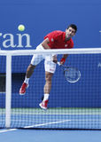 Professional tennis player Novak Djokovic during  fourth round match at US Open 2013 Royalty Free Stock Photos