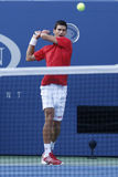 Professional tennis player Novak Djokovic during  fourth round match at US Open 2013 Stock Photography