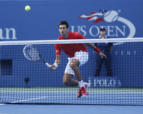 Professional tennis player Novak Djokovic during  fourth round match at US Open 2013 Stock Images