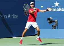 Professional tennis player Novak Djokovic practices for US Open 2013 Stock Images