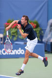 Professional tennis player Philipp Kohlschreiber practices for US Open 2014 Stock Image