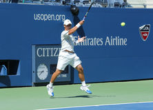 Professional tennis player Ricardas Berankis from Lithuania practices for US Open 2013 at Billie Jean King National Tennis Center Stock Photo