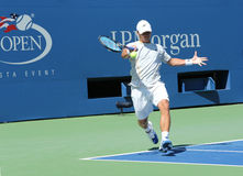 Professional tennis player Ricardas Berankis from Lithuania practices for US Open 2013 at Billie Jean King National Tennis Center Royalty Free Stock Photo