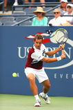 Professional tennis player Richard Gasquet during first round match at US Open 2013 against Michael Russell Royalty Free Stock Image