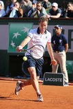 Professional tennis player Richard Gasquet of France in action during his third round match at Roland Garros 2015 Stock Photography