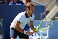 Professional tennis player Richard Gasquet of France  in action during his third round match at US Open 2015 Royalty Free Stock Photos