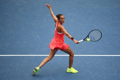 Professional tennis player Roberta Vinci of Italy in action during her final match at US Open 2015 at National Tennis Center Stock Photos