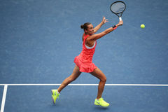 Professional tennis player Roberta Vinci of Italy in action during her final match at US Open 2015 at National Tennis Center Royalty Free Stock Image