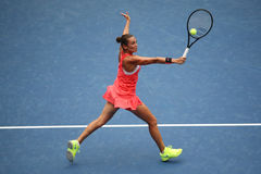 Professional tennis player Roberta Vinci of Italy in action during her final match at US Open 2015 at National Tennis Center Stock Image