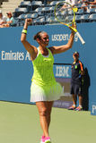 Professional tennis player Roberta Vinci of Italy celebrates victory after her first round match at US Open 2016 Stock Photo