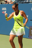 Professional tennis player Roberta Vinci of Italy celebrates victory after her first round match at US Open 2016 Stock Photos