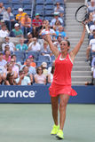 Professional tennis player Roberta Vinci of Italy celebrates victory after her quarterfinal match at US Open 2015 Stock Photos